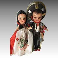 Vintage Composition Mexico Dolls in Original Outfit