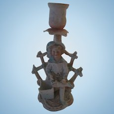 Antique Bisque Doll Candle Stick Figure
