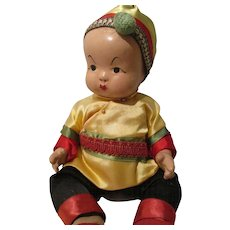 Vintage Oriental Composition Baby Doll