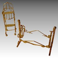 Vintage Metal Cradle and Highchair For Your Miniature Doll.