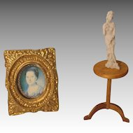 Vintage Table, Statue, Picture For Your Miniature Doll House