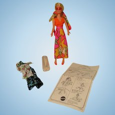 Vintage 1970's Rock Flower Doll in Original Outfit.