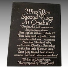 Who Won Second Place At Omaha The Doll Convention Second Place Winner Book