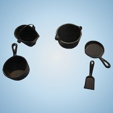 Miniature Cast Iron Pots and Pans For Your Doll House