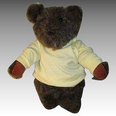 Vintage Mohair Bear In Yellow Shirt