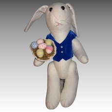 Vintage White Bunny With Color Eggs In Basket