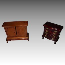 Two Vintage Wooden Miniature Doll House Dresser And Cabinet