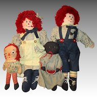 4 Vintage Cloth Dolls