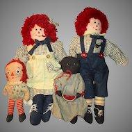 4 Vintage Cloth Dolls