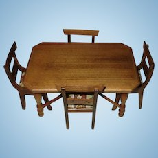 Vintage Shackman MIniature Doll House Table And Chairs Wooden.