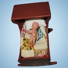 Vintage Homemade Dollhouse Wooden Baby Cradle