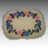 Vintage Homemade Cross Stitched Dollhouse Rug