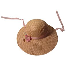 Vintage Straw And Lace Doll Hat