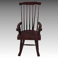 Vintage Wooden Dollhouse Rocking Chair