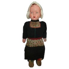 Vintage Wooden and Hard Plastic Walker Type Doll In Regional Clothes,