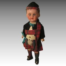 Antique German 12/0 Doll In Scottish Outfit.