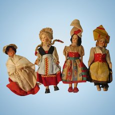 Vintage Group Of Dolls In Their Regional Outfits
