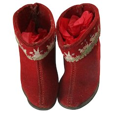 Vintage Wool And Leather Baby Or Doll Boots With Leather Soles