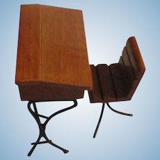 Miniature Wooden And Metal Desk And Chair.