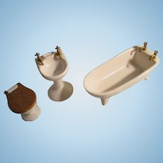 Vintage Miniature Porcelain Bath Room set For Your Dollhouse.