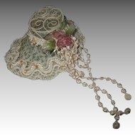 Vintage Metal Doll Hat With Lace