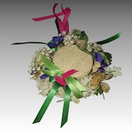 Vintage Straw Doll Hat Full Of Flowers