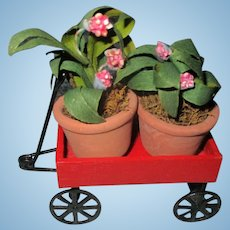 Miniature Wagon with Plants For Your Dollhouse