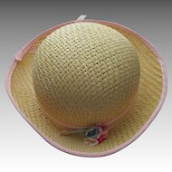 Vintage Straw Hat For Your Doll