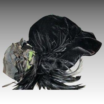 Vintage Homemade Black and Velvet Doll Hat