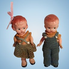 Vintage Knickerbocker Girl and Boy Dolls