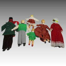 Vintage Doll House Dolls Family