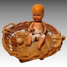 Vintage K & H Bisque Baby Doll In German Wicker Basket Playpen
