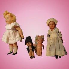 Four Vintage Celluloid Dolls