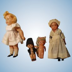 Four Vintage Celluloid Dolls