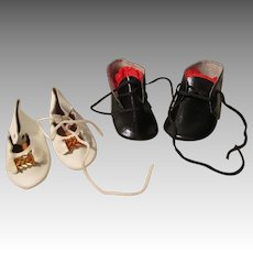 2 Pairs of Vintage Doll Shoes