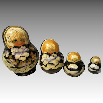 Vintage Russian Handmade Nesting Dolls