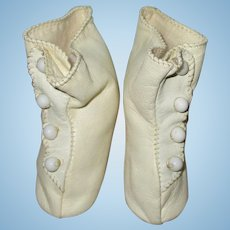 Vintage White Leather Doll Boots