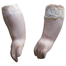 Vintage Plaster Type Doll Arms