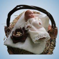 Vintage Bisque Japan Baby In Wicker Easter Basket