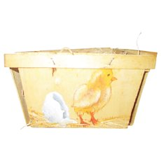 Vintage Wooden Carton Painted With Baby Chick On It.