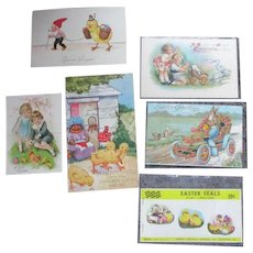 Vintage Easter Post Cards And Book