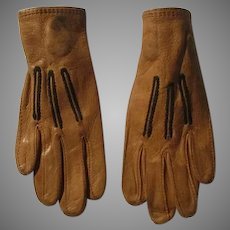 Antique Bacmo Childs or Big Doll Leather Gloves.