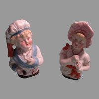 2 Bisque 1/2 Doll Figures