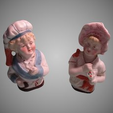 2 Bisque 1/2 Doll Figures