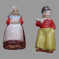 Two German Bisque Dutch Type Dolls
