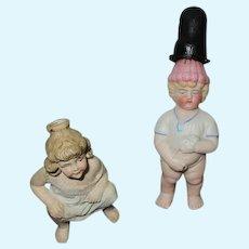 Antique German Bisque Doll Figures.