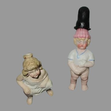 Antique German Bisque Doll Figures.