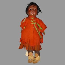 Madame Hendren Indian Composition and Cloth Doll In Her Original Clothes