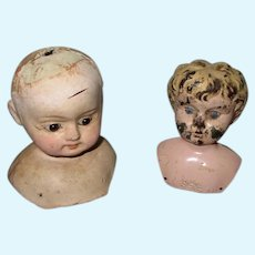 2 Antique Doll Heads For Repair