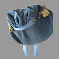 Vintage Blue Velvet Bonnet For Your Doll